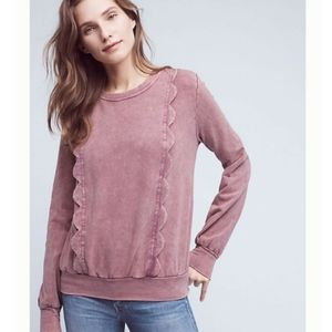 Eri + Ali Rose Pink Scallop Weckerlie Sweatshirt
